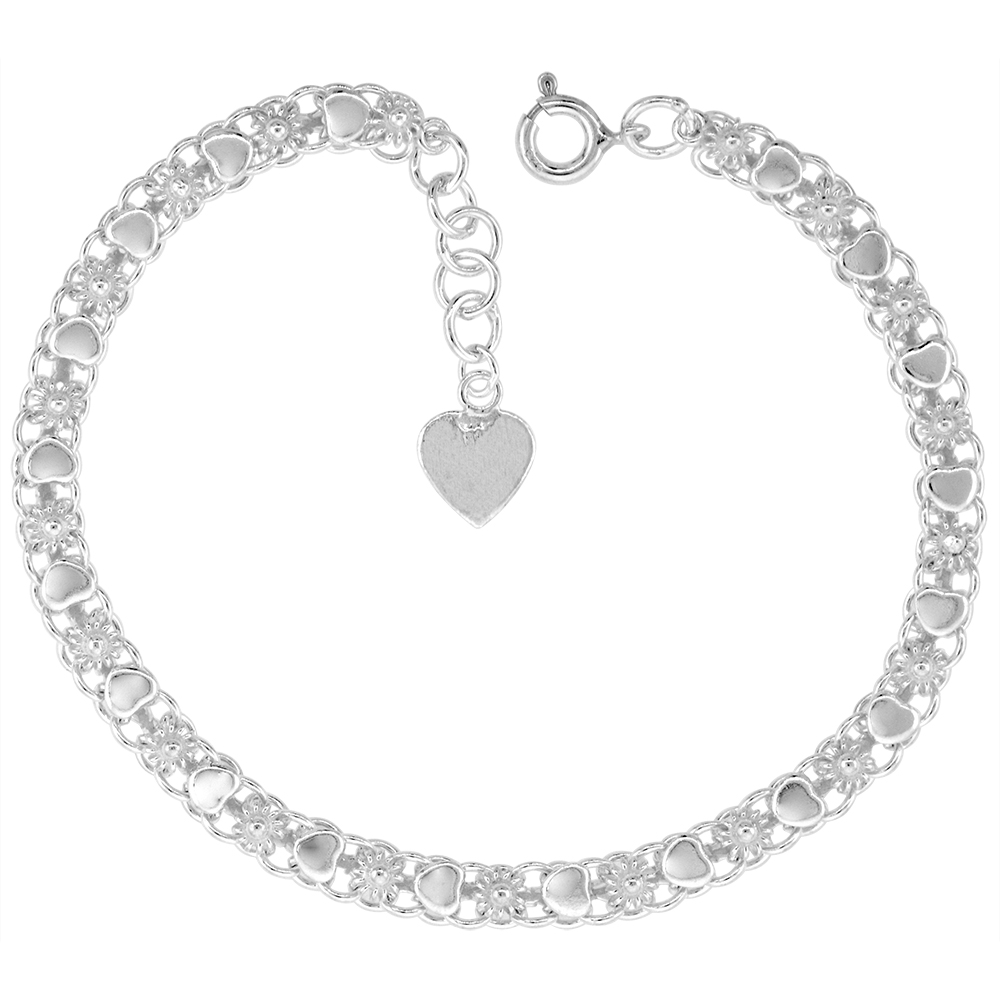 3/16 inch wide Sterling Silver Teeny Flowers and Hearts Anklet for Women 5mm fits 9-10 inch ankles