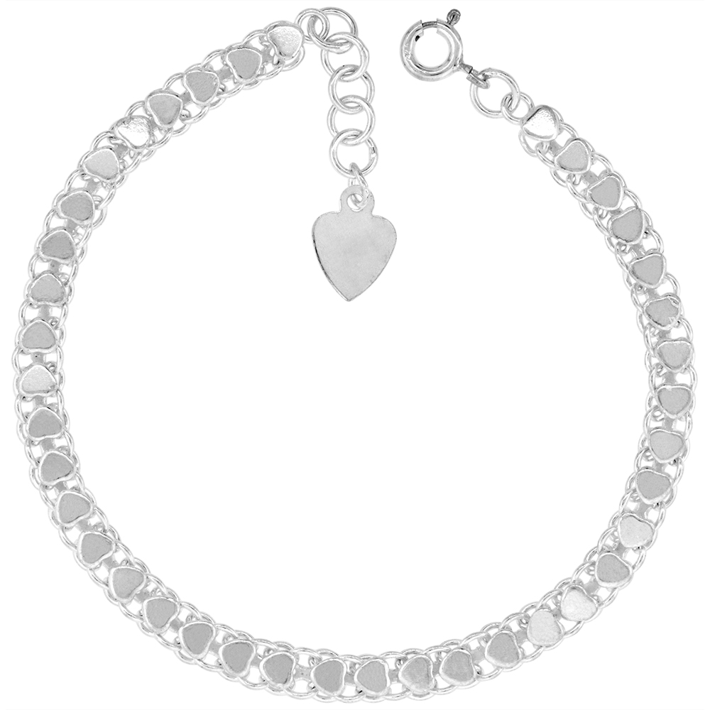 3/16 inch wide Sterling Silver Teeny Polished Hearts Anklet for Women 5mm fits 9-10 inch ankles