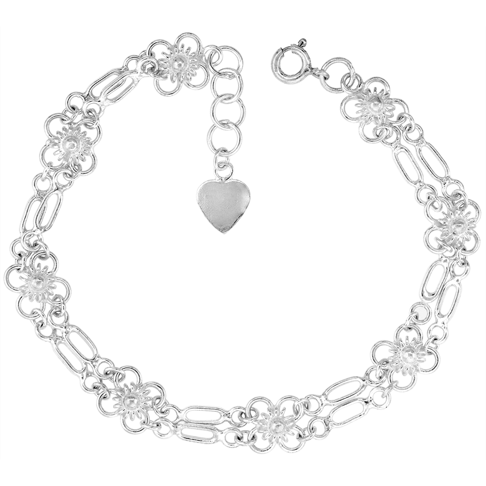1/4 inch wide Sterling Silver Linked Quatrefoil Flowers Anklet for Women 7mm fits 9-10 inch ankles