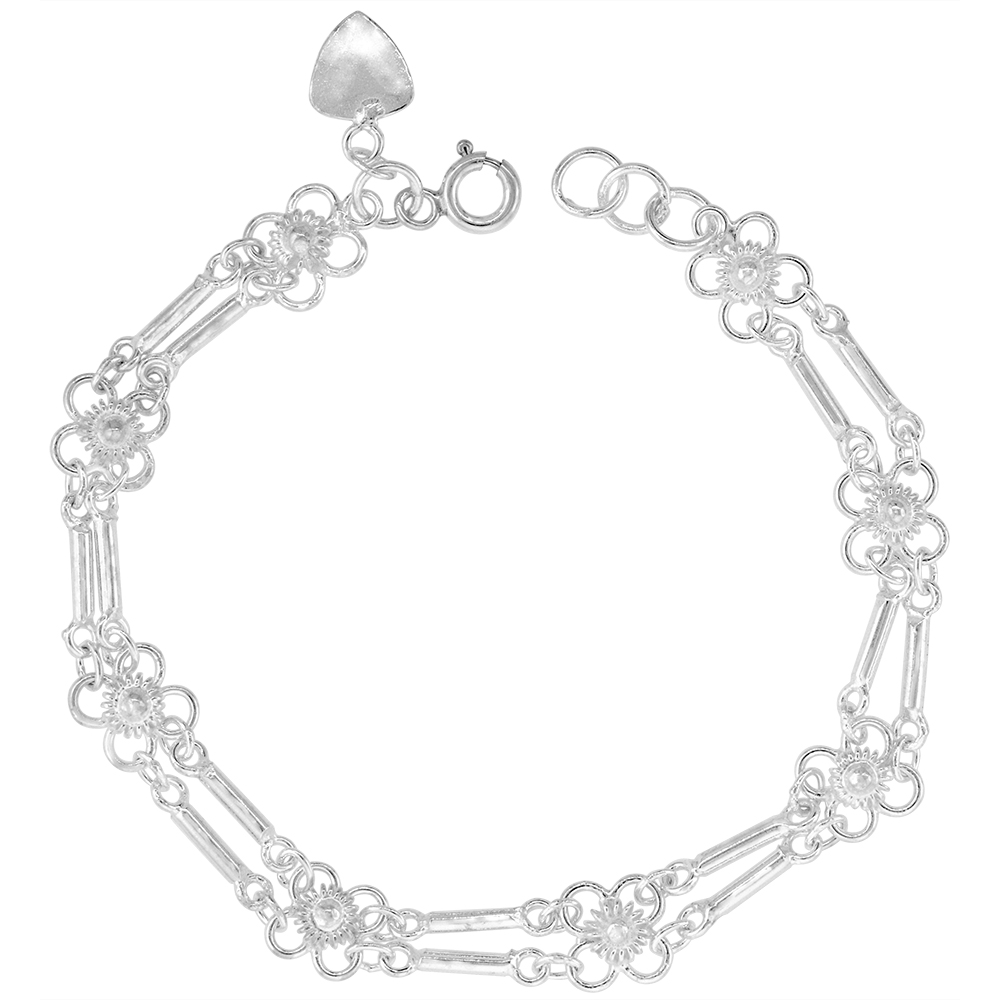 1/4 inch wide Sterling Silver Bar Link Quatrefoil Flowers Anklet for Women 7mm fits 9-10 inch ankles