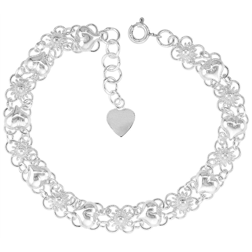 1/4 inch wide Sterling Silver Quatrefoil Flowers and Hearts Anklet for Women 7mm fits 9-10 inch ankles