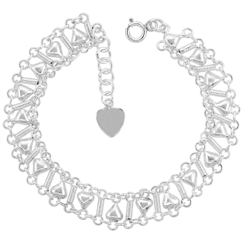 1/2 inch wide Sterling Silver Hearts Anklet for Women 12mm fits 9-10 inch ankles