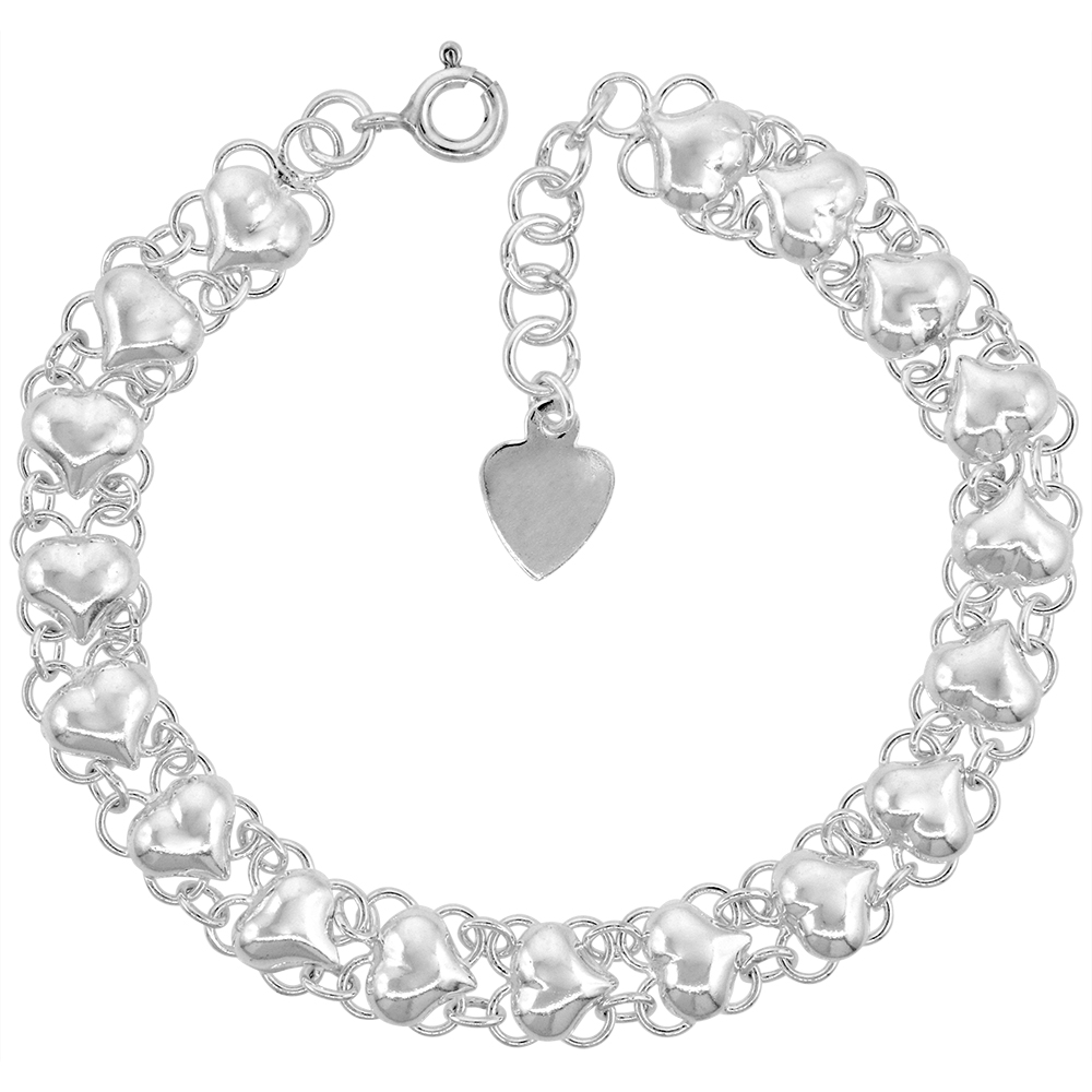 5/16 inch wide Sterling Silver Quatrefoil Hearts Anklet for Women Polished 8mm fits 9-10 inch ankles