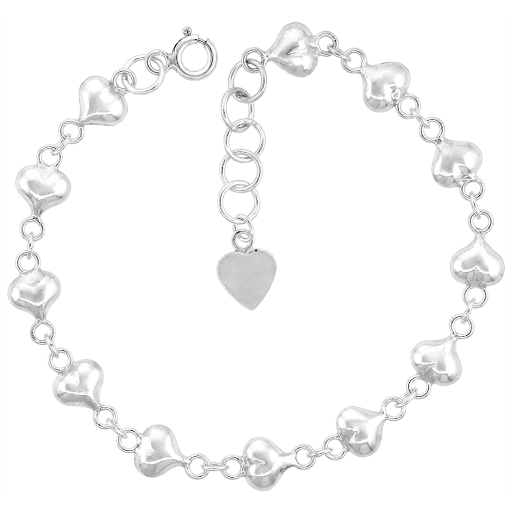 1/4 inch wide Sterling Silver Linked Puffy Hearts Anklet for Women 7mm fits 9-10 inch ankles