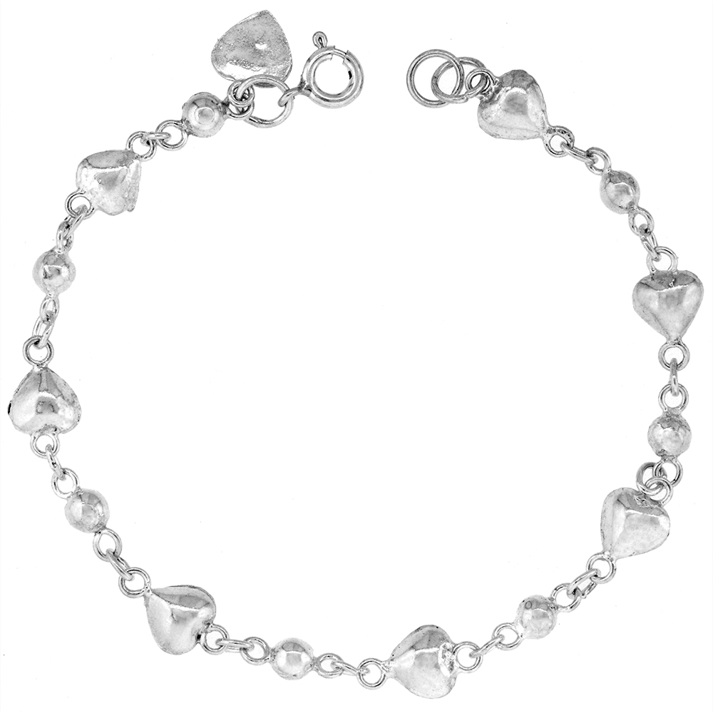 1/4 inch wide Sterling Silver Puffy Hearts and Beads Anklet for Women 6mm fits 9-10 inch ankles
