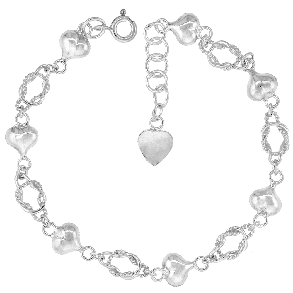 1/4 inch wide Sterling Silver Love Knots & Puffy Hearts Anklet for Women 7mm fits 9-10 inch ankles
