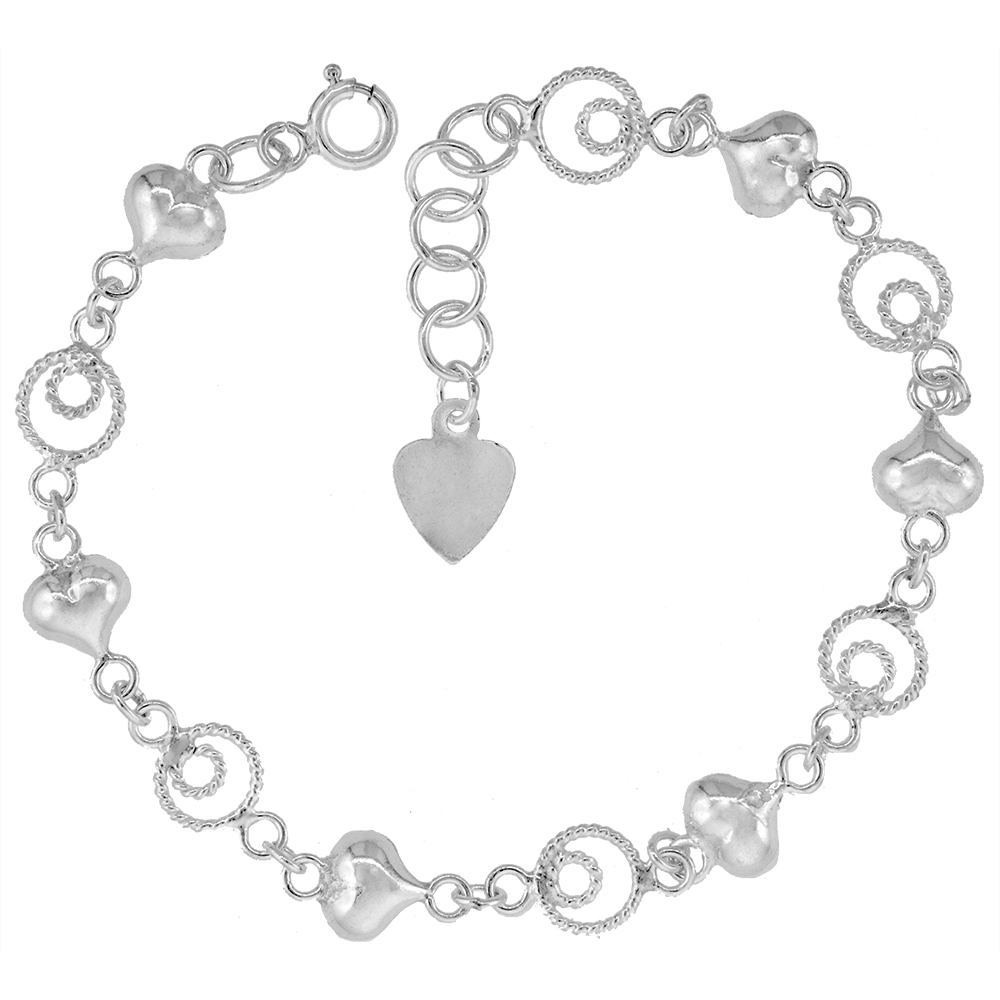 1/4 inch wide Sterling Silver Cricles & Puffy Hearts Anklet for Women 7mm fits 9-10 inch ankles
