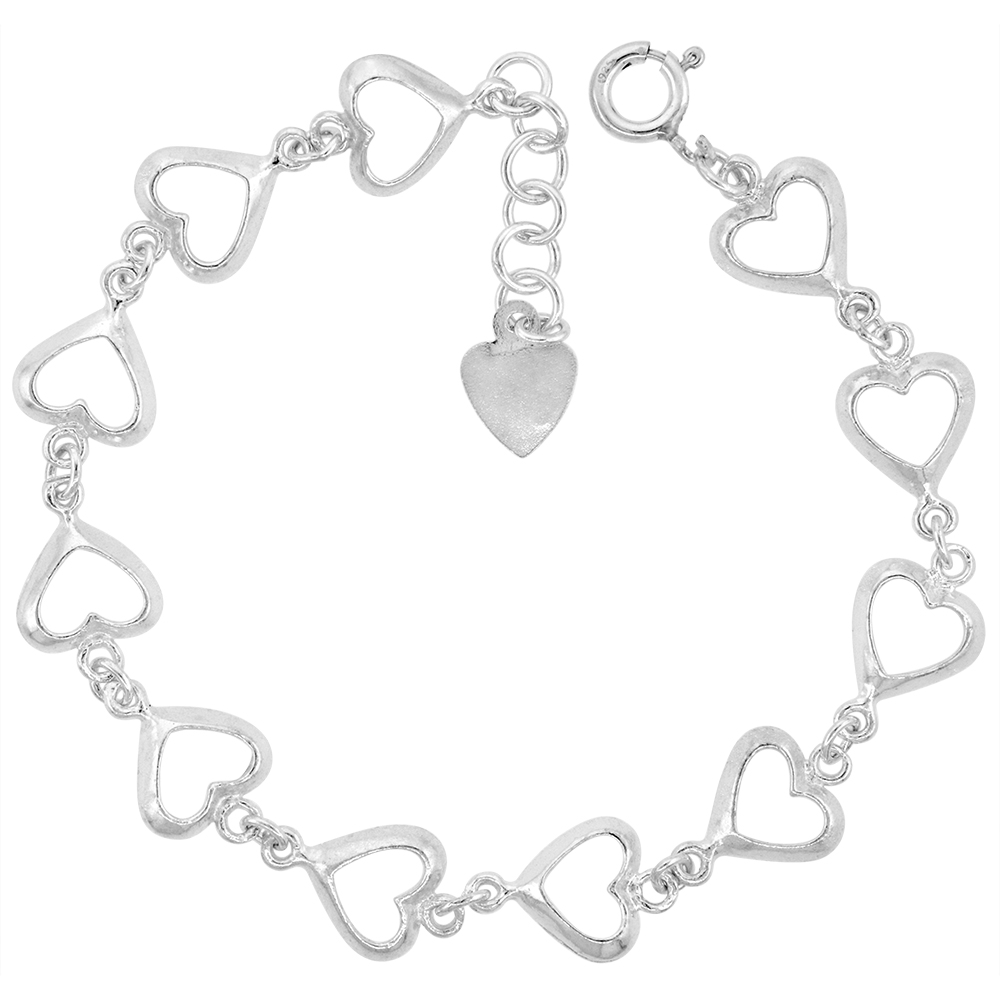 1/2 inch wide Sterling Silver Linked Cut-out Hearts Anklet for Women 12mm fits 9-10 inch ankles