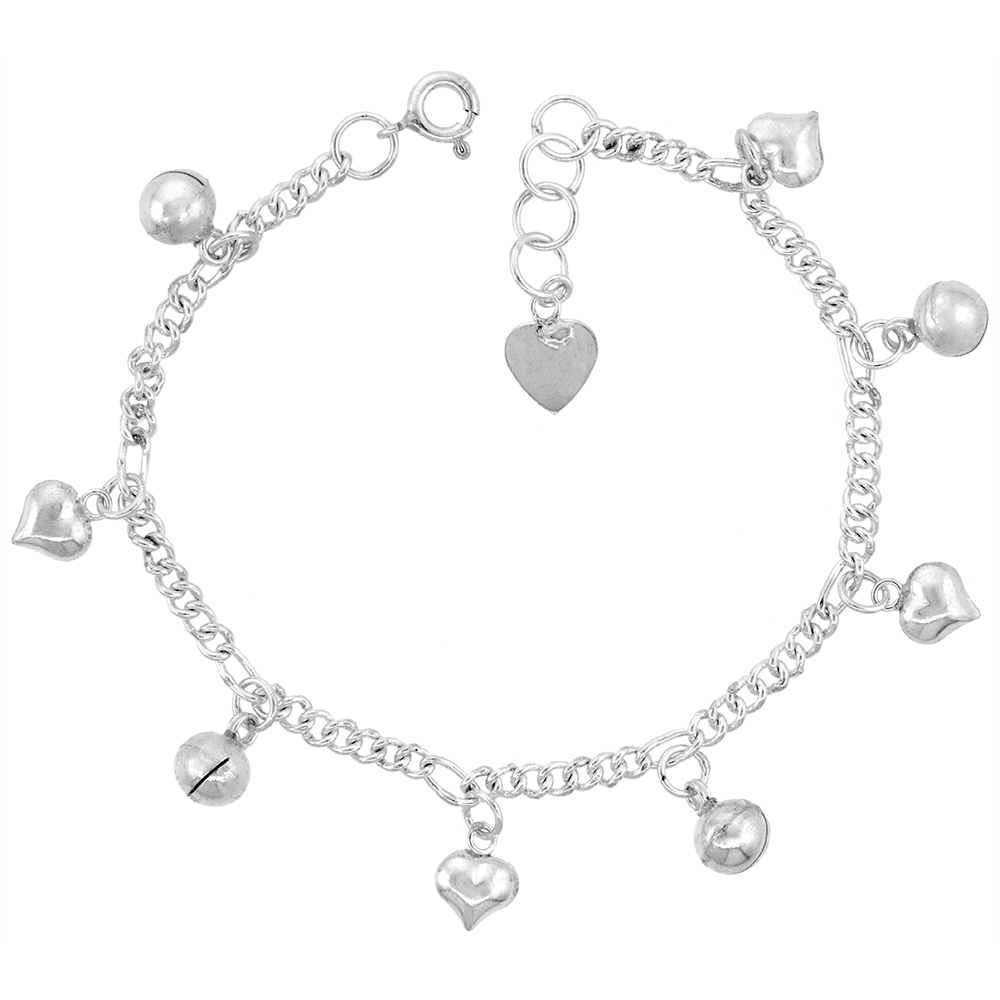 Sterling Silver Dangling Hearts and Jingle Bells Anklet for Women 12mm drop fits 9-10 inch ankles