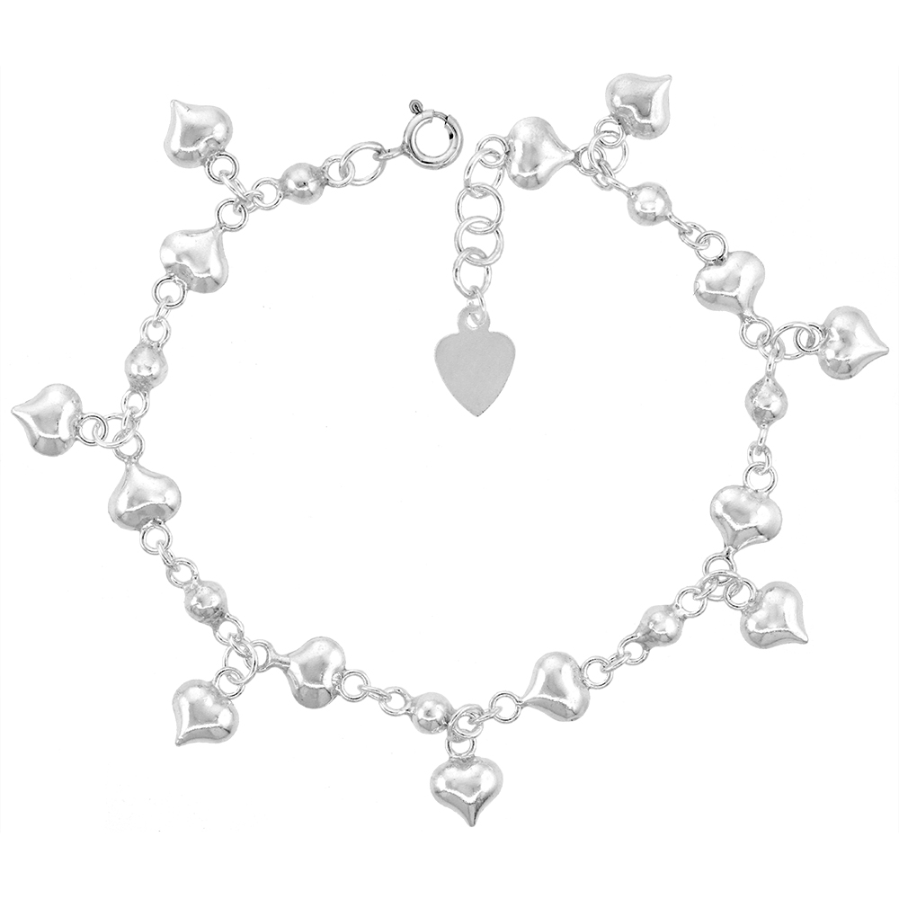 Sterling Silver Dangling Hearts Anklet for Women 15mm drop fits 9-10 inch ankles