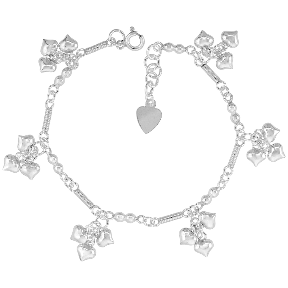 Sterling Silver Dangling Teeny Heart Clusters Anklet for Women Rope Bar Links 13mm drop fits 9-10 inch ankles