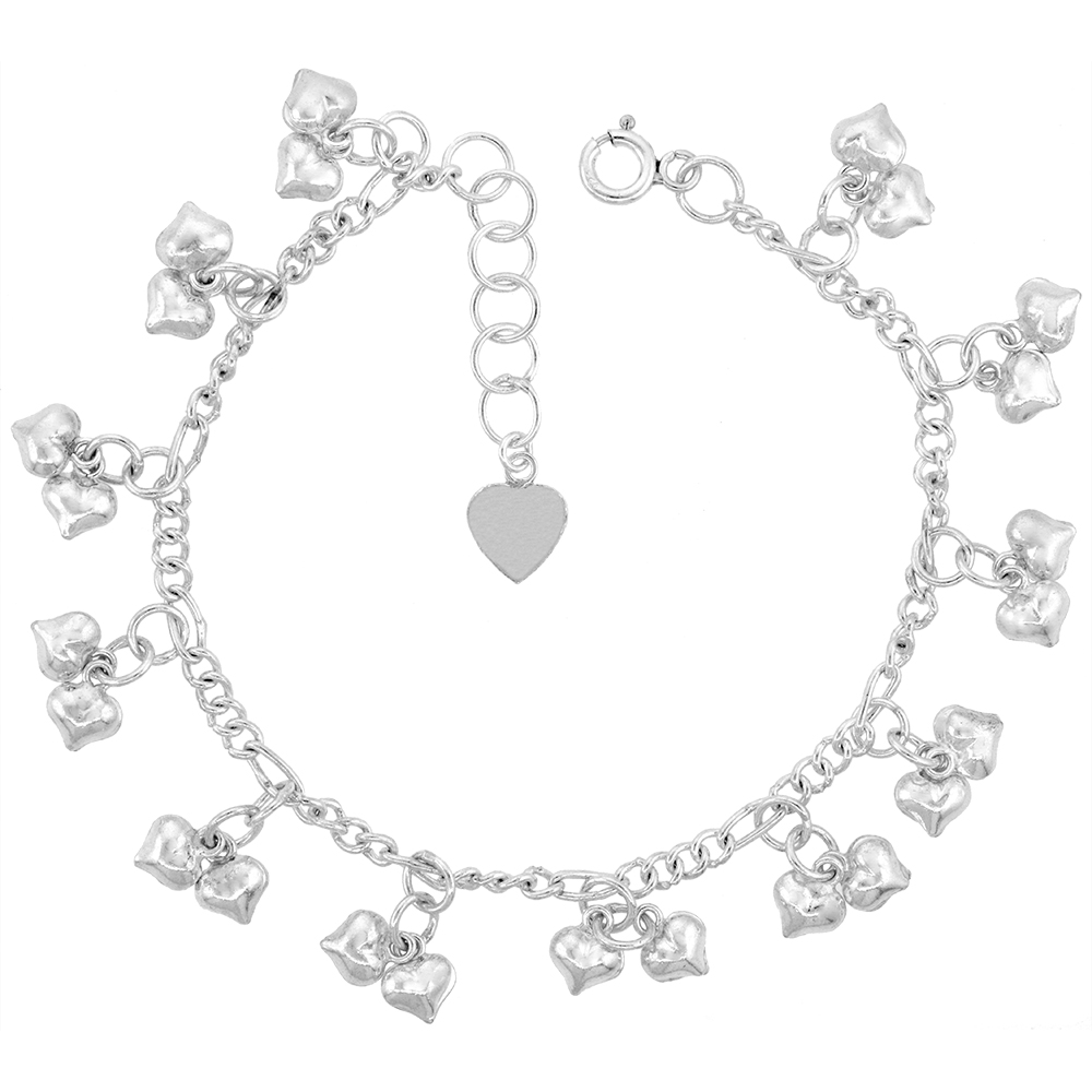 Sterling Silver Dangling Teeny Double Hearts Anklet for Women 11mm drop fits 9-10 inch ankles