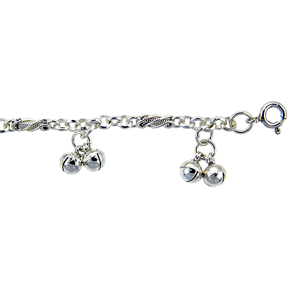 Sterling Silver Double Jingle Bells Anklet 10mm wide, fits 9 - 10 inch ankles