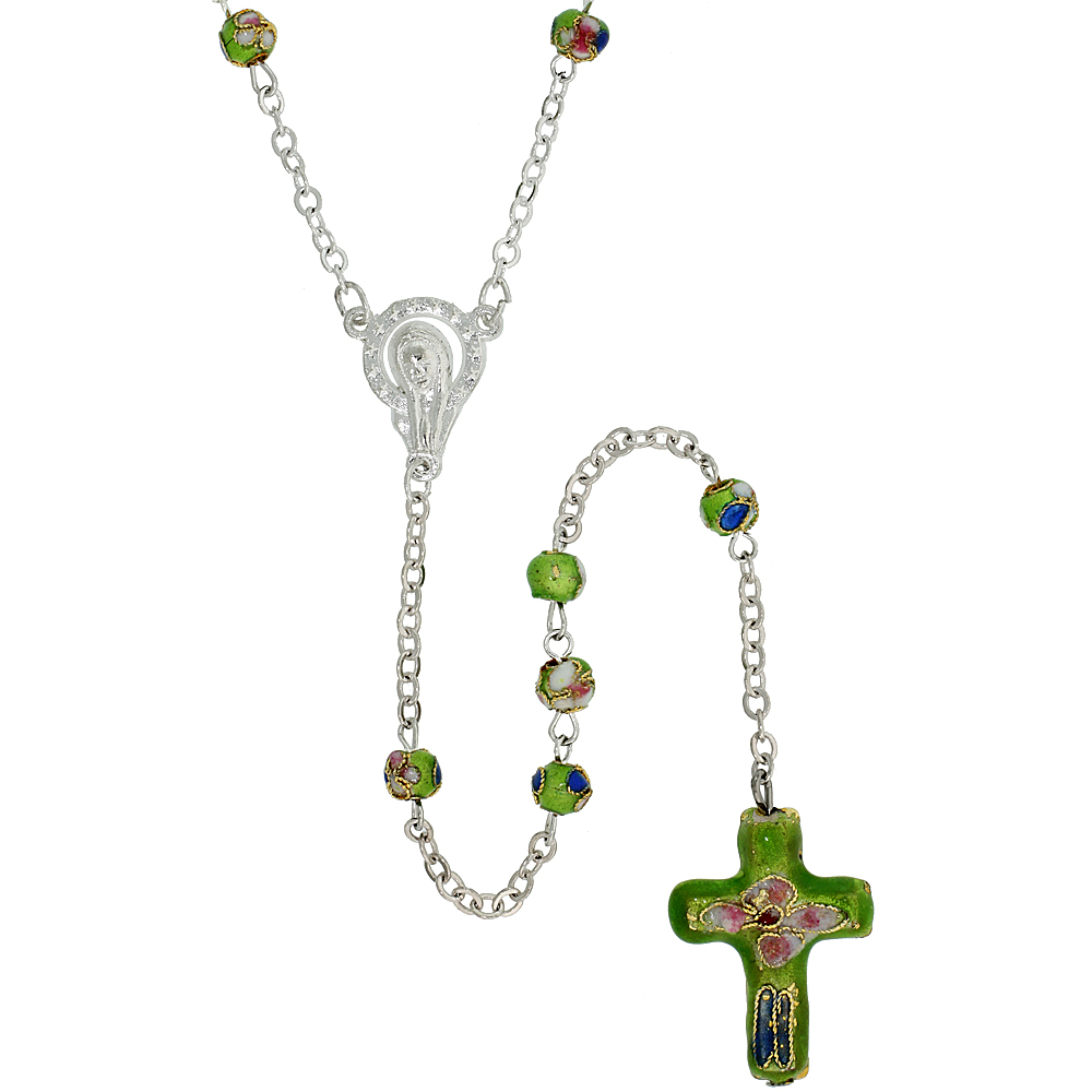 Cloisonne Rosary Necklace Peridot Green Color 5 mm Beads, 30 inch