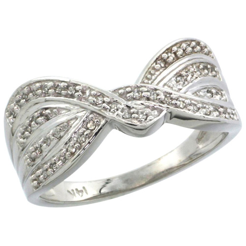 14k White Gold Diamond Ribbon Ring w/ 0.15 Carat Brilliant Cut ( H-I Color; VS2-SI1 Clarity ) Diamonds, 3/8 in. (9.5mm) wide
