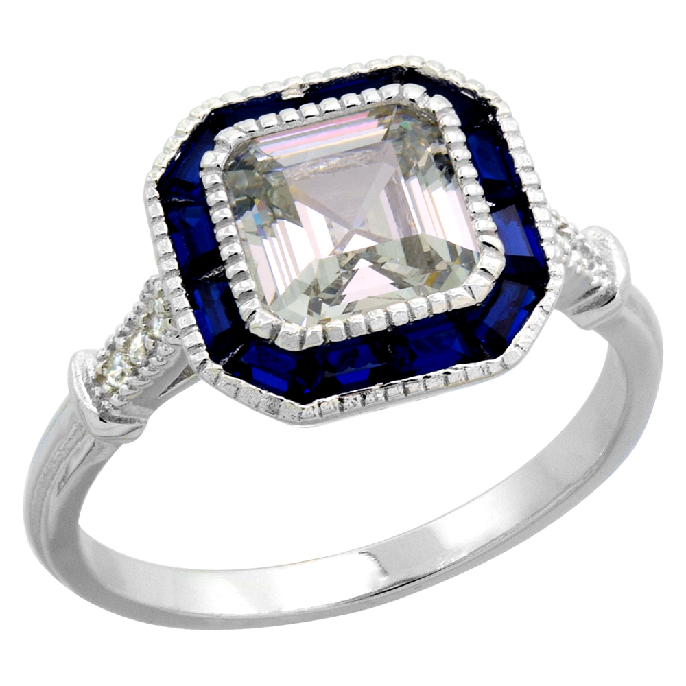 Sterling Silver Art Deco Ring Asscher-Cut CZ 7mm Synthetic Baguette Blue Sapphires 7/16 inch sizes 6 - 9