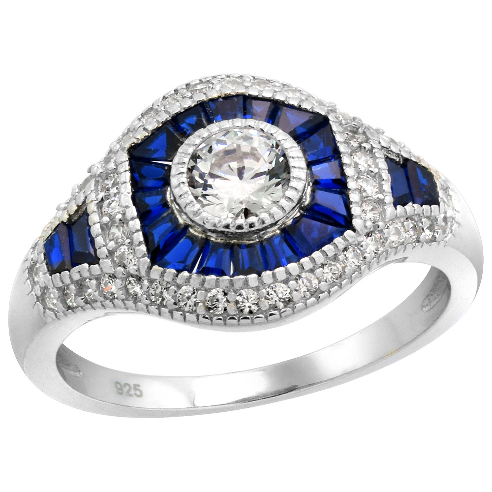 Sterling Silver Art Deco Ring Round CZ 5mm Synthetic Baguette Blue Sapphires 1/2 inch wide, sizes 6 - 9