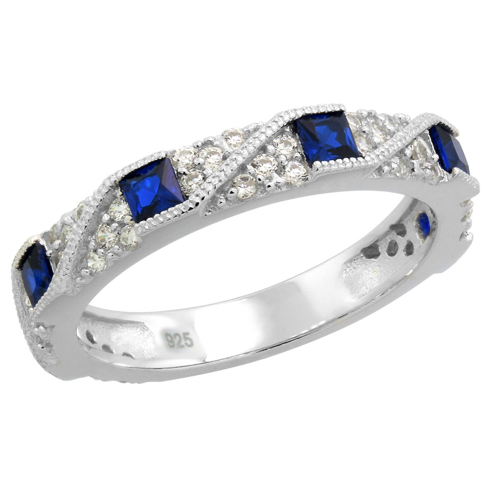 Sterling Silver Art Deco Half Eternity Ring Synthetic Square Blue Sapphires & CZ stones 1/8 inch sizes 6 - 9
