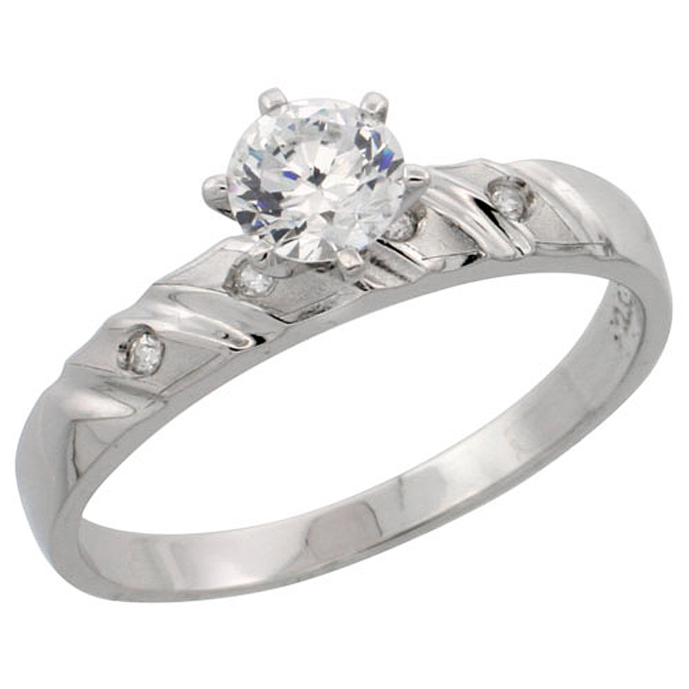 Sterling Silver Engagement Ring CZ Stones 5/32 in. 4 mm, sizes 5 to 10