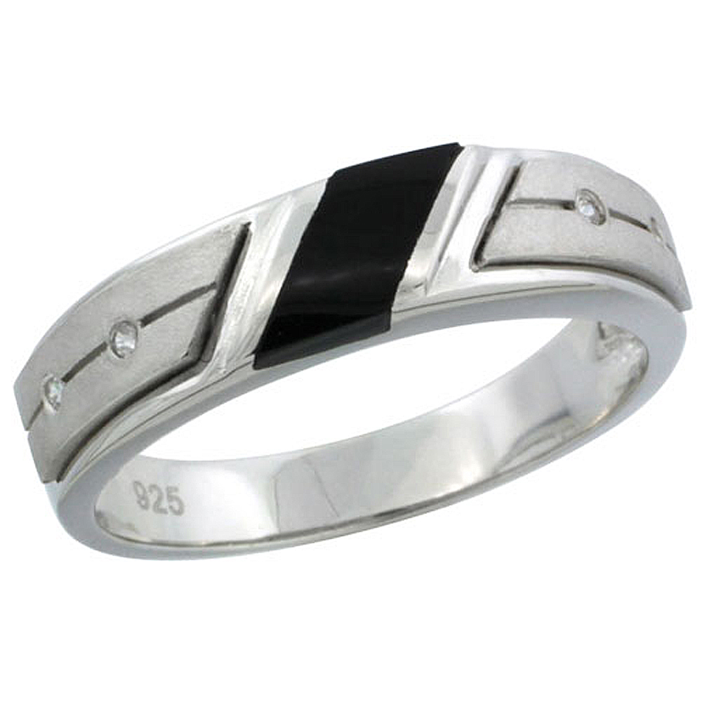 Sterling Silver Cubic Zirconia Mens Wedding Band Ring Black Onyx, 7/32 inch wide