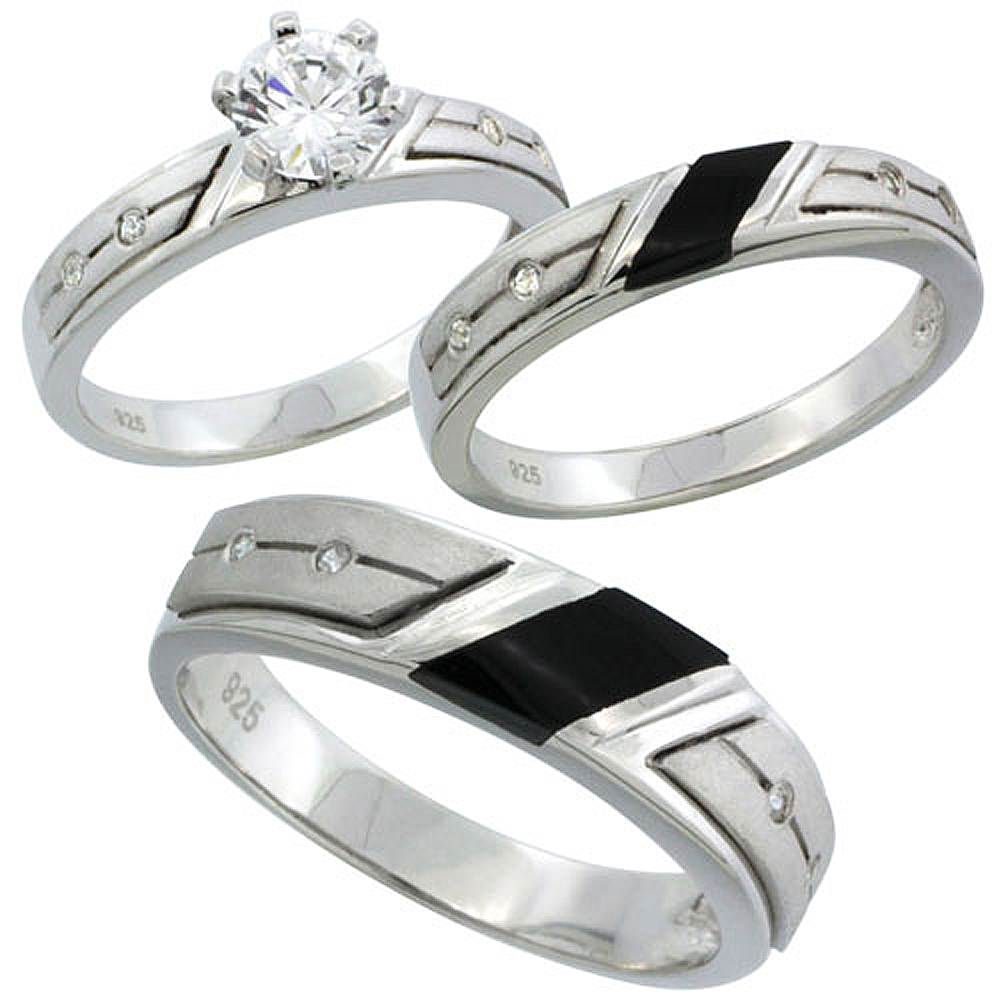 Sterling Silver Cubic Zirconia Trio Engagement Wedding Ring Set for Him and Her 5.5 mm Black Onyx, L 5 - 10 & M 8 - 14