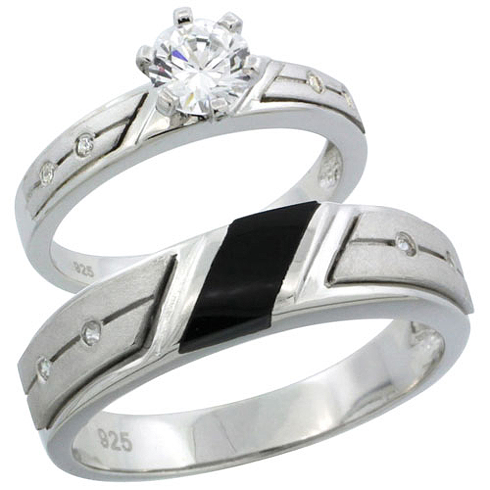 Sterling Silver Cubic Zirconia Engagement Rings Set for Him & Her 3/4 ct size Man's Wedding Band )