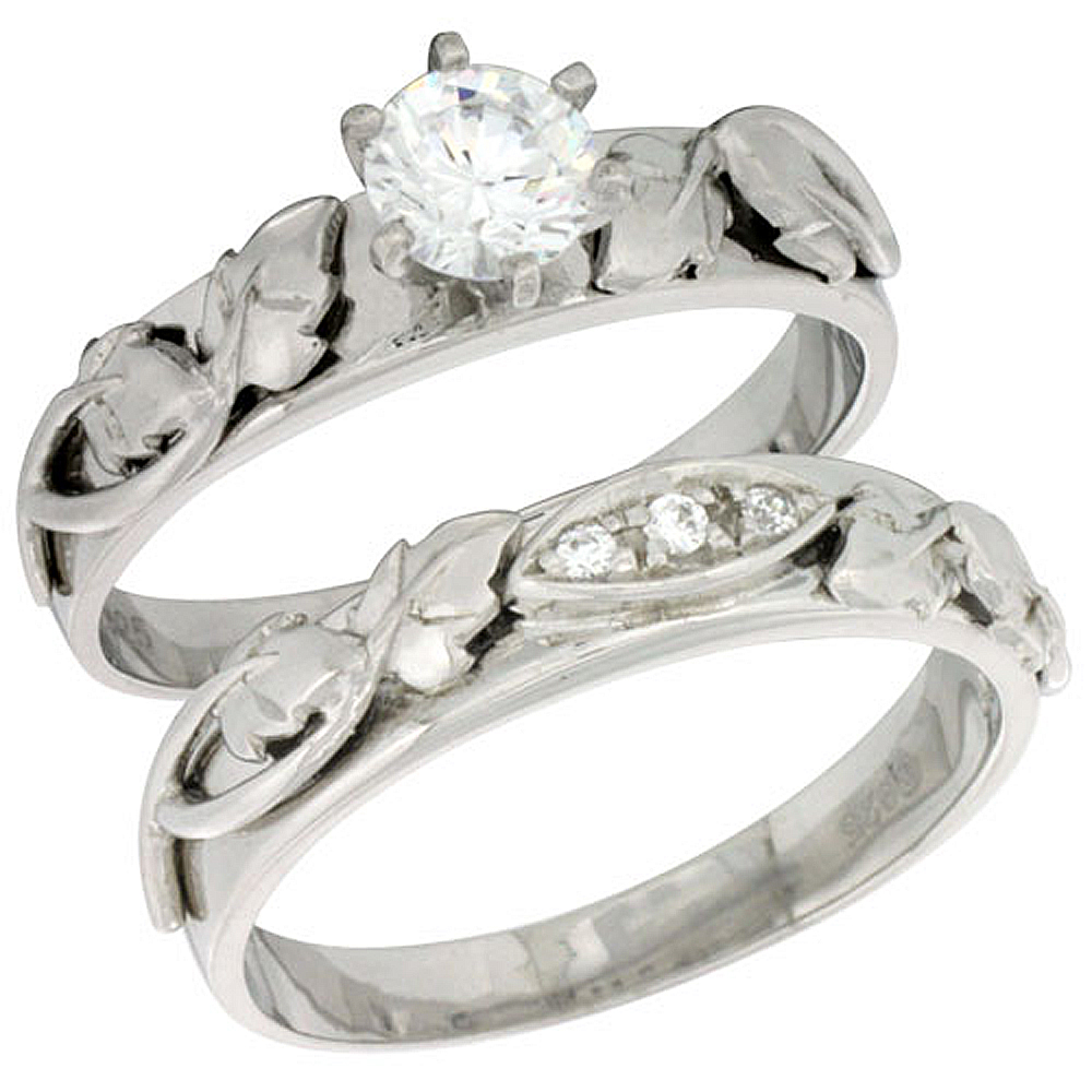 Sterling Silver Cubic Zirconia Ladies� Engagement Ring Set 2-Piece, 3/16 inch wide