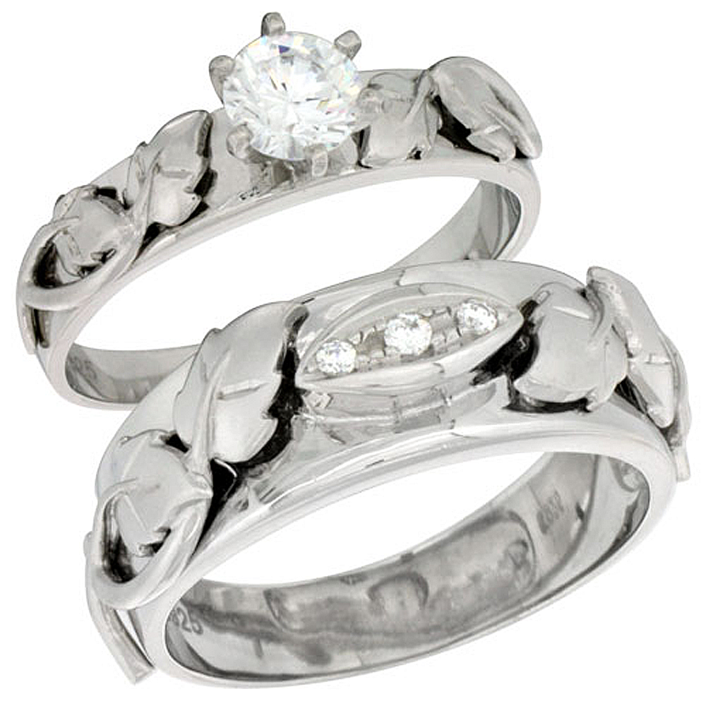 Sterling Silver Cubic Zirconia Engagement Rings Set for Him & Her Round Brilliant Cut 5/16 inch wide, sizes L 5-10 M 8-14