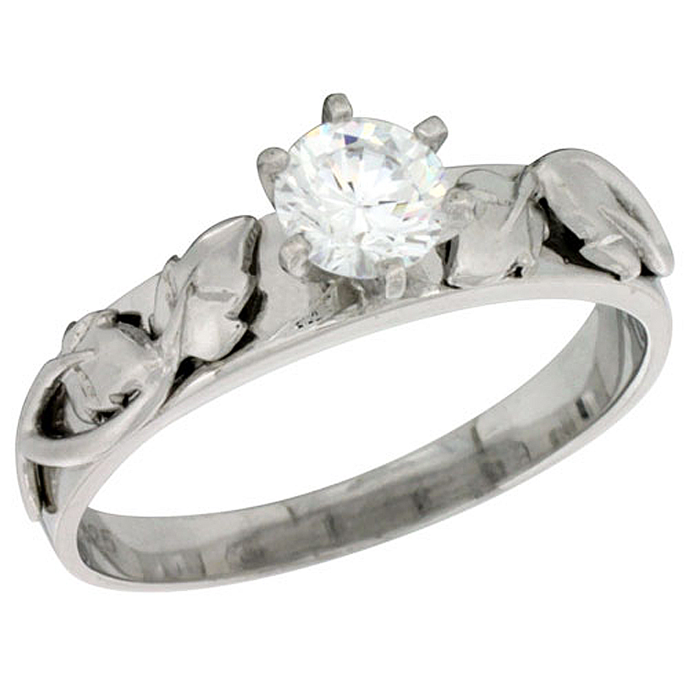 Sterling Silver Cubic Zirconia Solitaire Engagement Ring 1 ct size Brilliant cut Brilliant Cut 3/16 inch wide