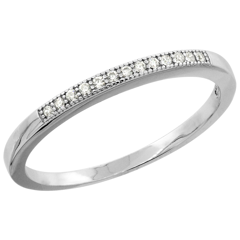 Sterling Silver Micro Pave Cubic Zirconia Ladies' Thin Half Eternity Wedding Band, 1/16 inch wide, sizes 5 to 10