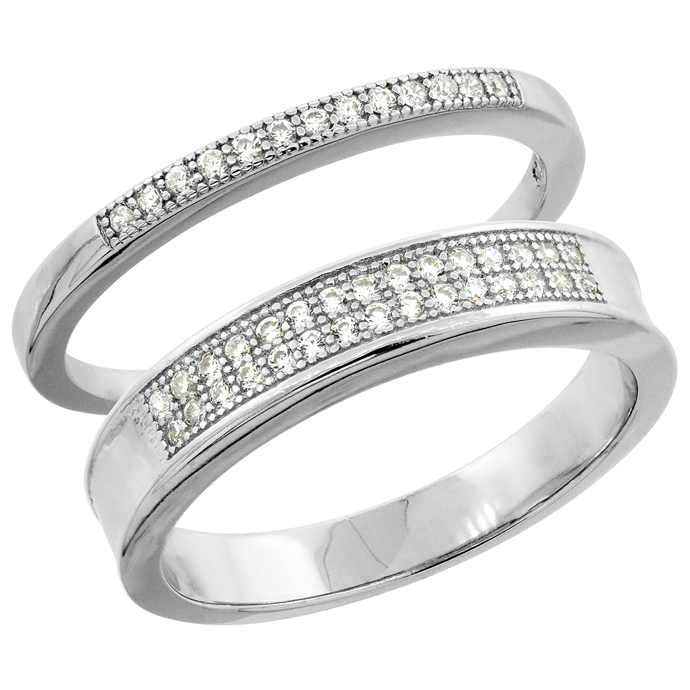 Sterling Silver Micro Pave Cubic Zirconia Wedding Ring 2-Piece Set 4 mm Him & Hers 2 mm, sizes M 8-14 L 5-10