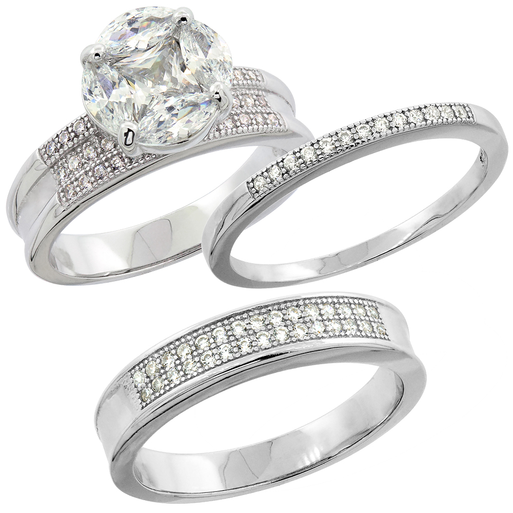 Sterling Silver Micro Pave Cubic Zirconia Trio Wedding Ring Set for 4 mm Him & Hers 2 mm, L 5 - 10 & M 8 - 14
