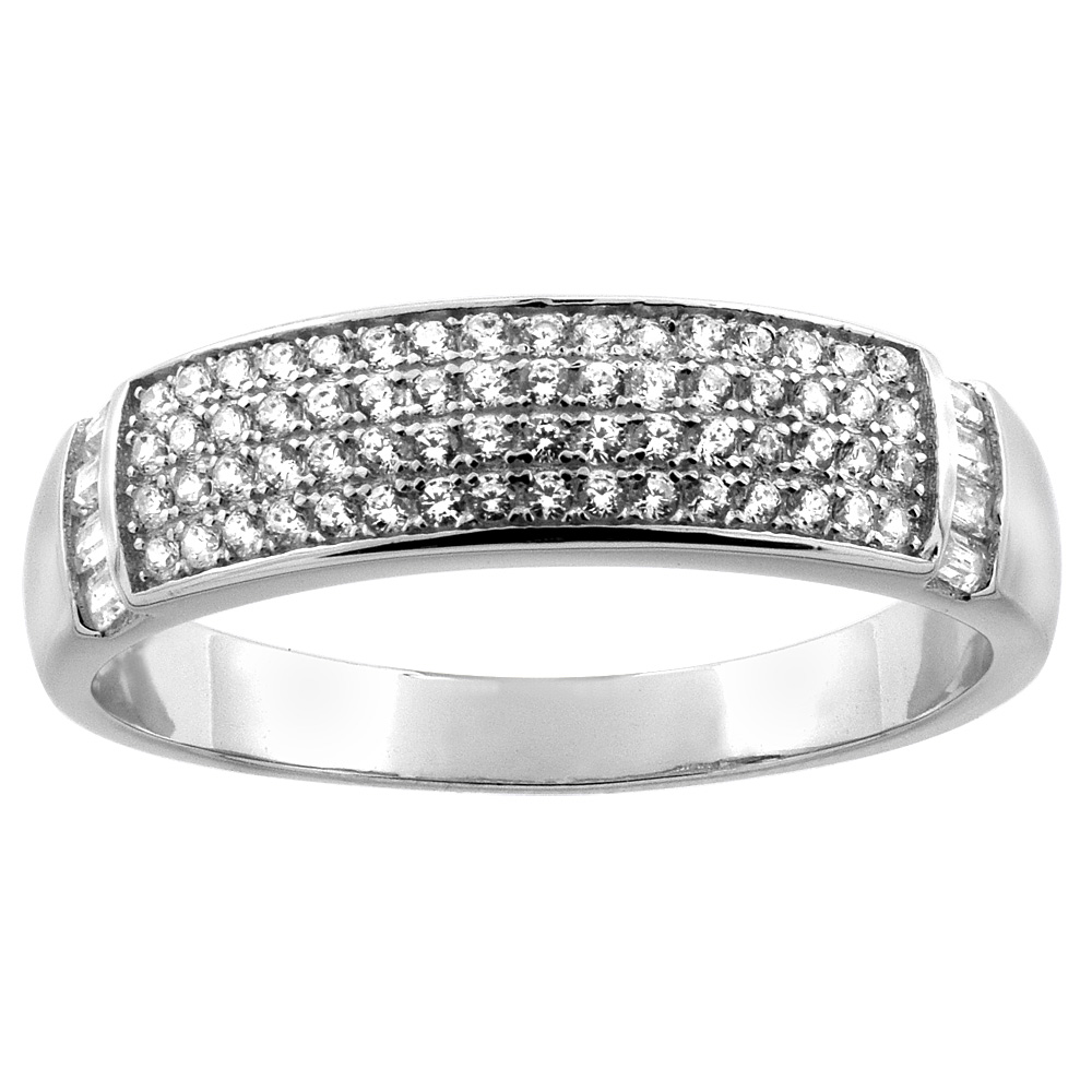 Sterling Silver Micro Pave Cubic Zirconia Men's Wedding Band, 1/4 inch wide, sizes 8 to 14