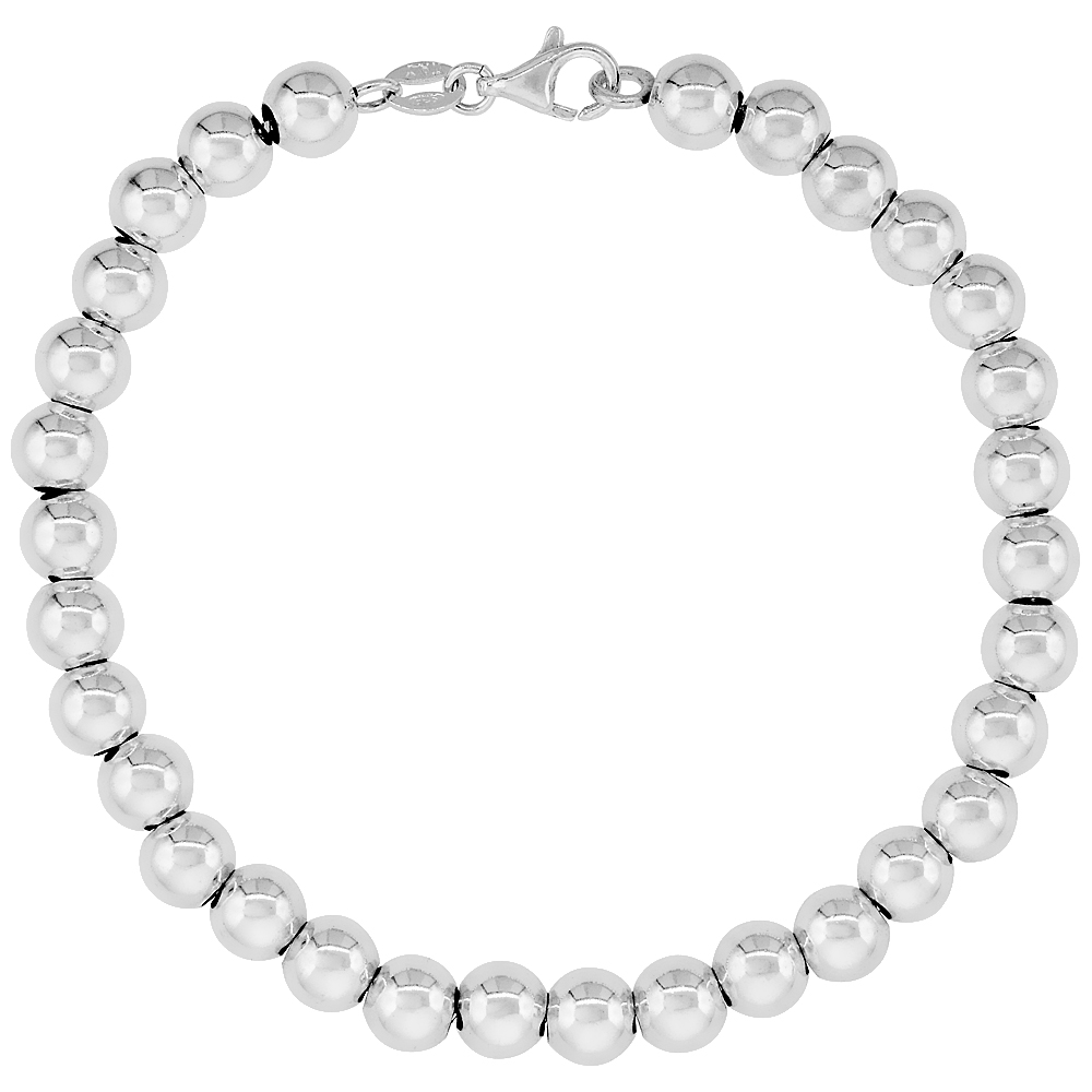 Sterling Silver Bead Necklace and Bracelet 6mm Plain Italy, sizes 7 - 20 inch