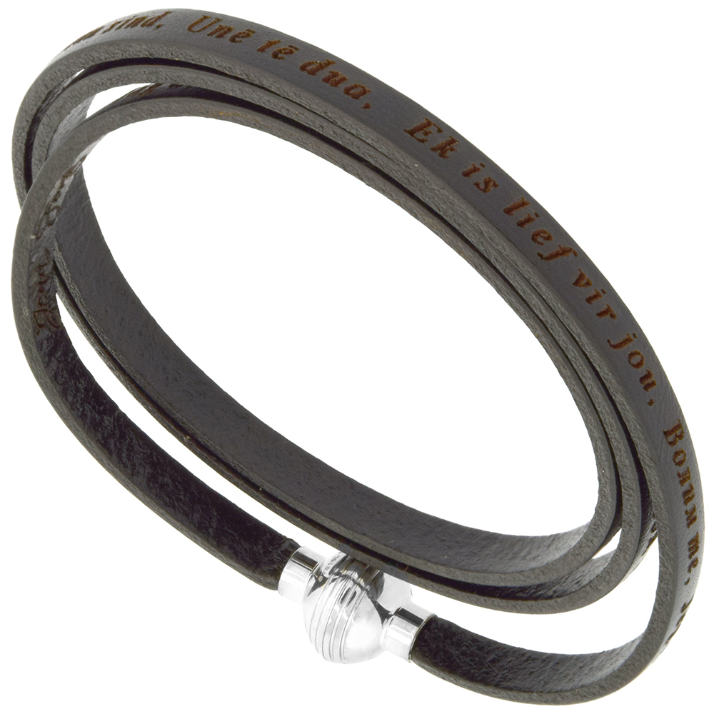 Italian Full Grain 3 Wrap Black Leather I Love You Bracelet Stainless Steel Magnetic Clasp 22.5 Inch
