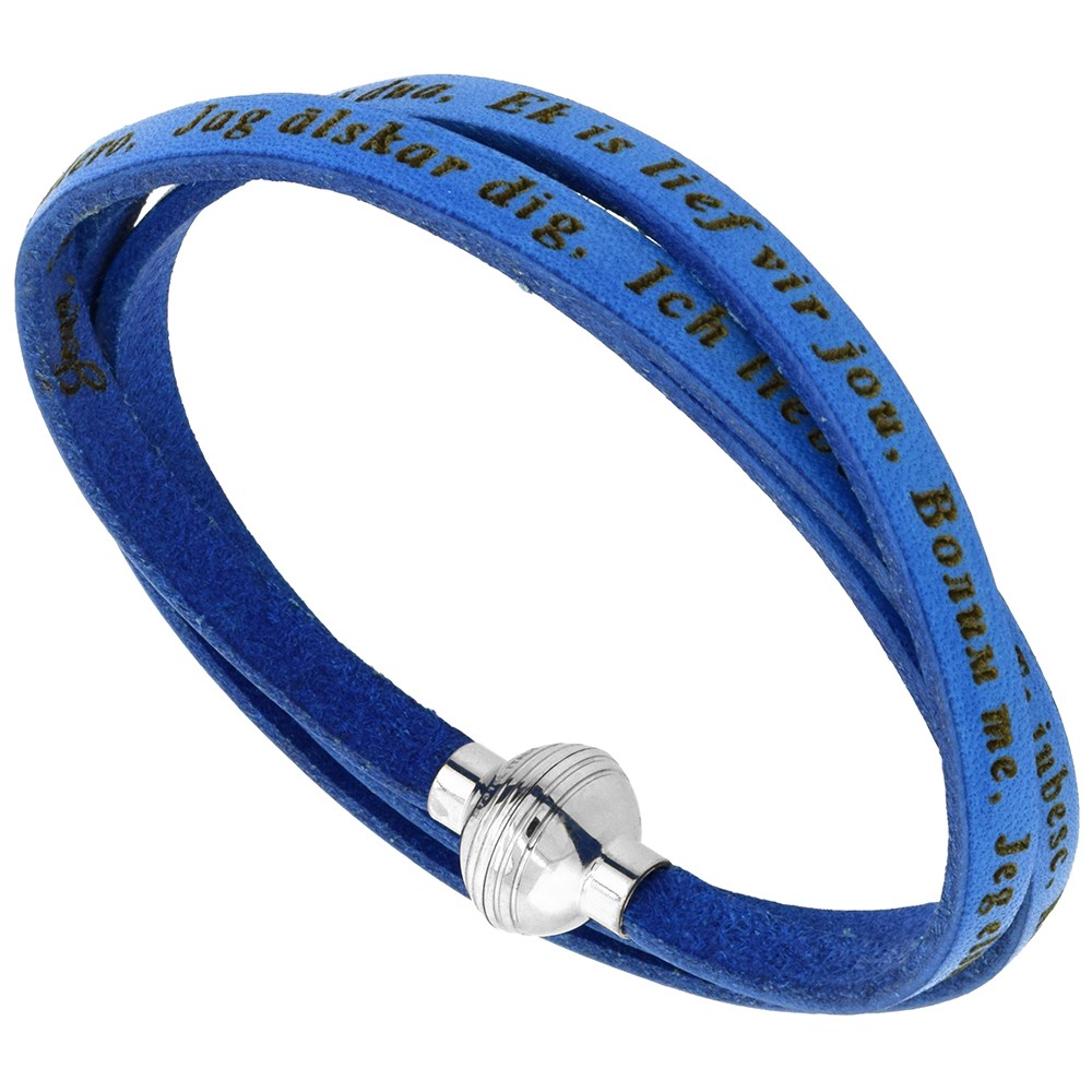 Italian Full Grain 3 Wrap Blue Leather I Love You Bracelet Stainless Steel Magnetic Clasp 22.5 Inch
