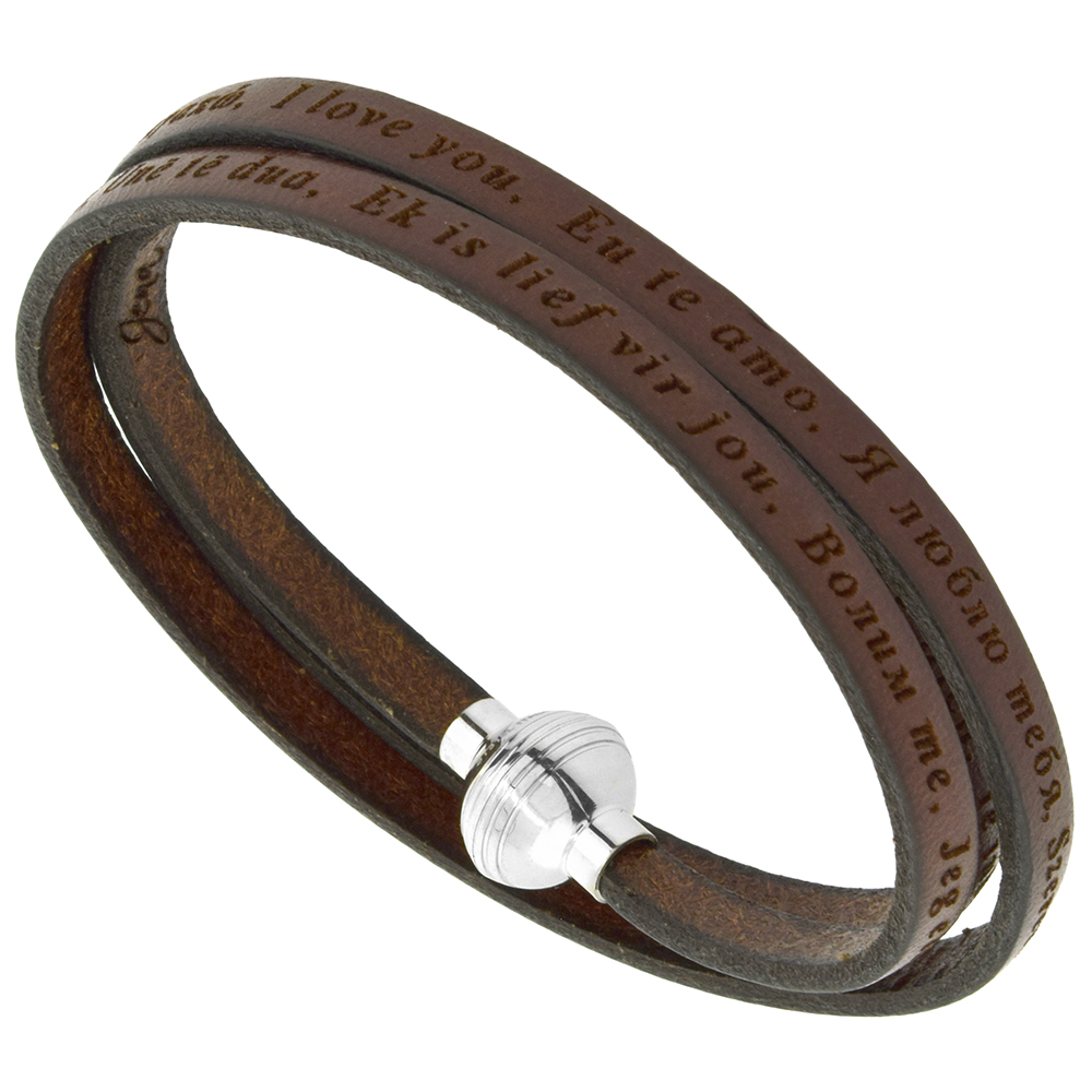 Italian Full Grain 3 Wrap Brown Leather I Love You Bracelet Stainless Steel Magnetic Clasp 22.5 Inch