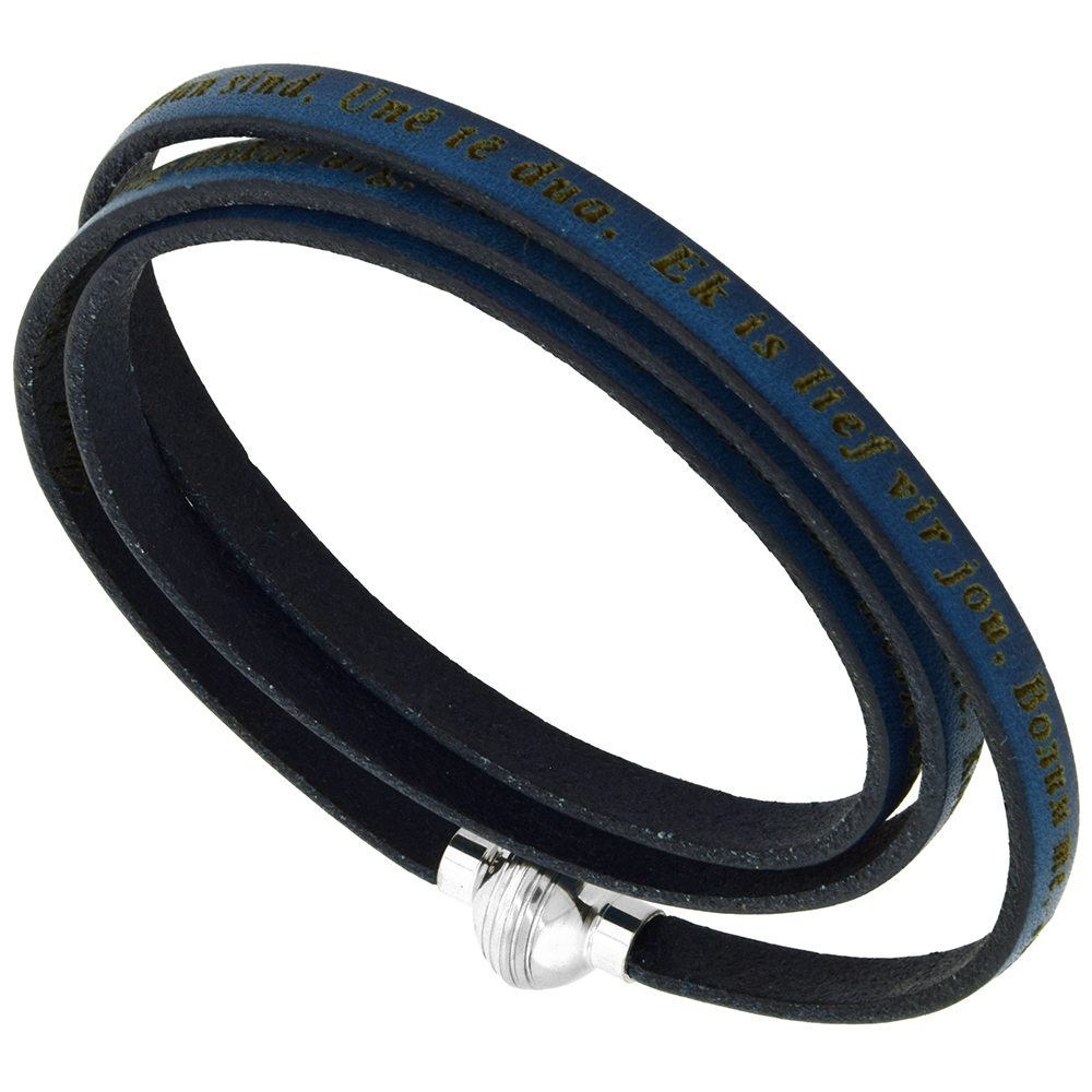 Italian Full Grain 3 Wrap Dark Blue Leather I Love You Bracelet Stainless Steel Magnetic Clasp 22.5 Inch