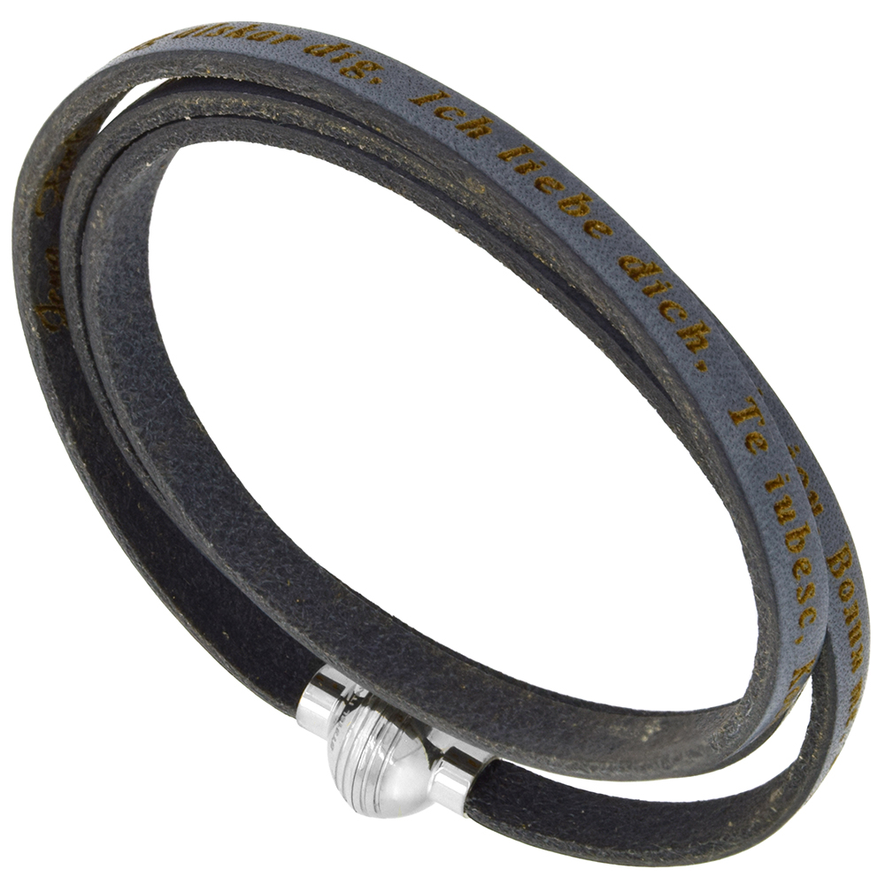 Italian Full Grain 3 Wrap Gray Leather I Love You Bracelet Stainless Steel Magnetic Clasp 22.5 Inch