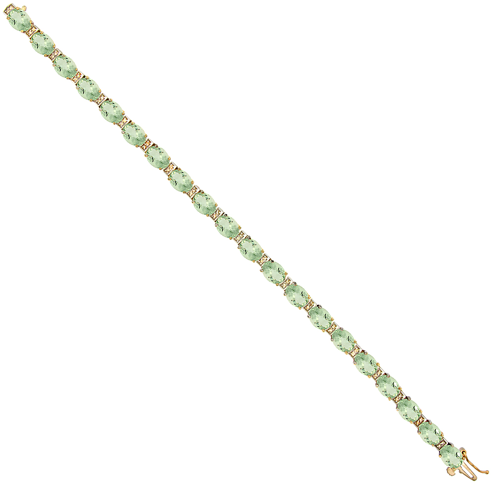 10K Yellow Gold Natural Green Amethyst Oval Tennis Bracelet 7x5 mm stones, 7 inches