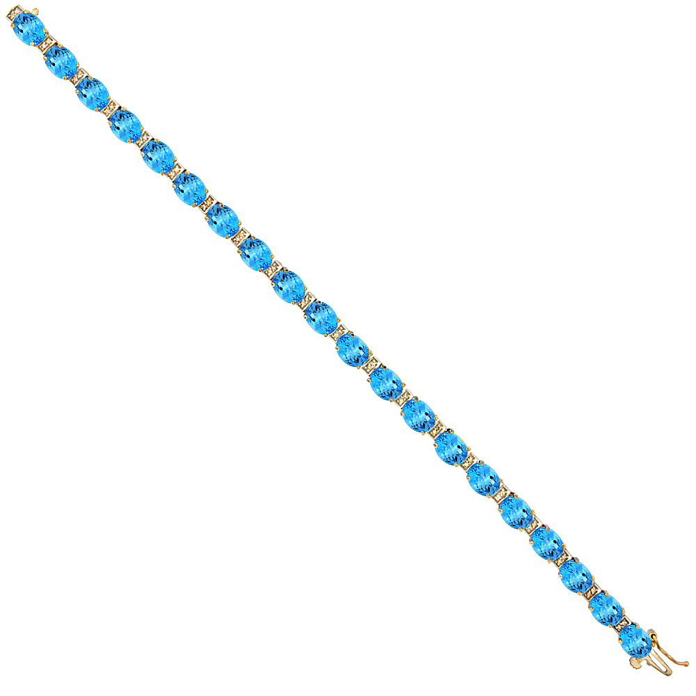 10K Yellow Gold Natural Swiss Blue Topaz Oval Tennis Bracelet 7x5 mm stones, 7 inches