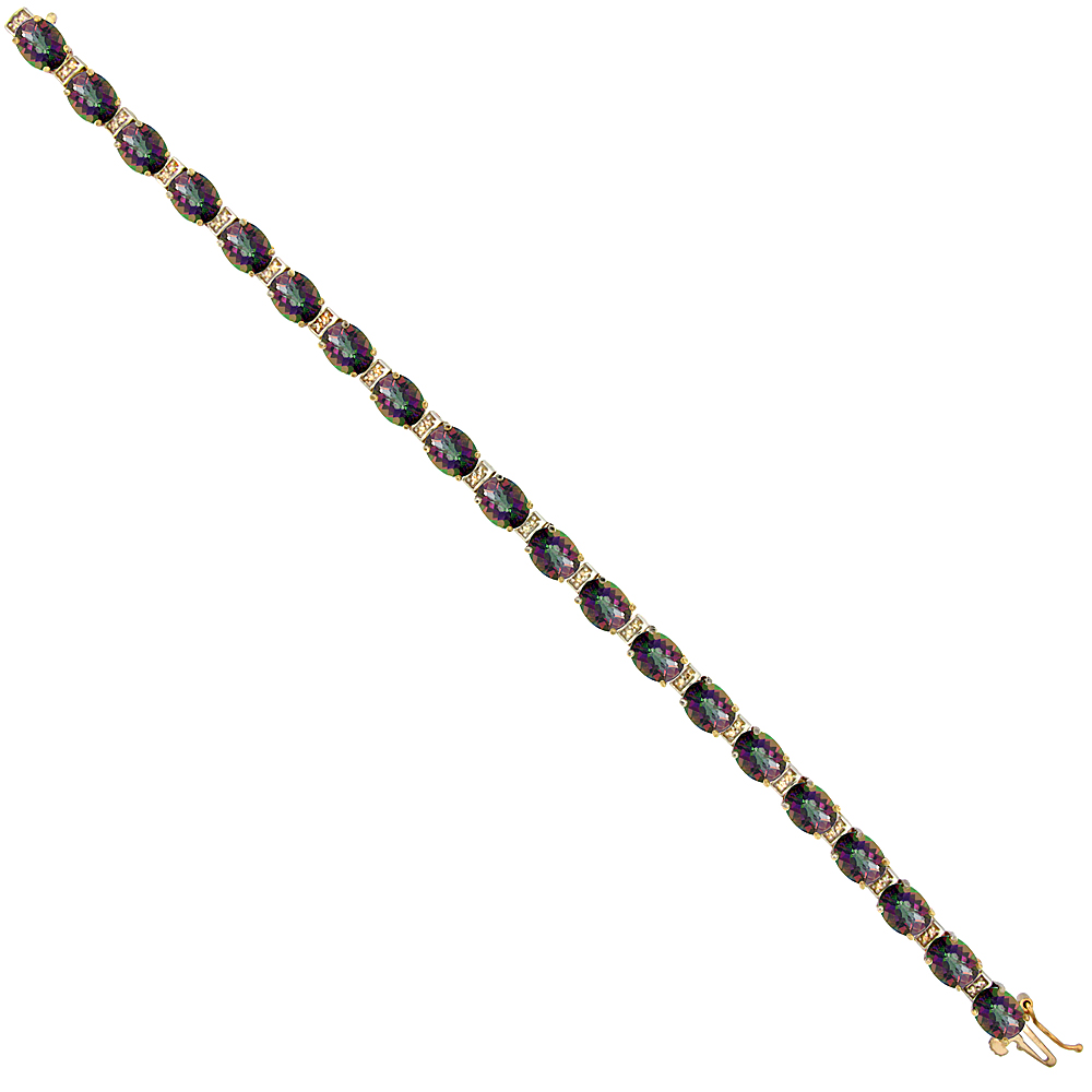10K Yellow Gold Natural Mystic Topaz Oval Tennis Bracelet 7x5 mm stones, 7 inches
