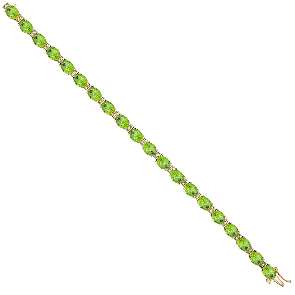 10K Yellow Gold Natural Peridot Oval Tennis Bracelet 7x5 mm stones, 7 inches
