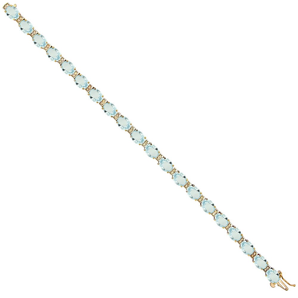 10K Yellow Gold Natural Aquamarine Oval Tennis Bracelet 7x5 mm stones, 7 inches