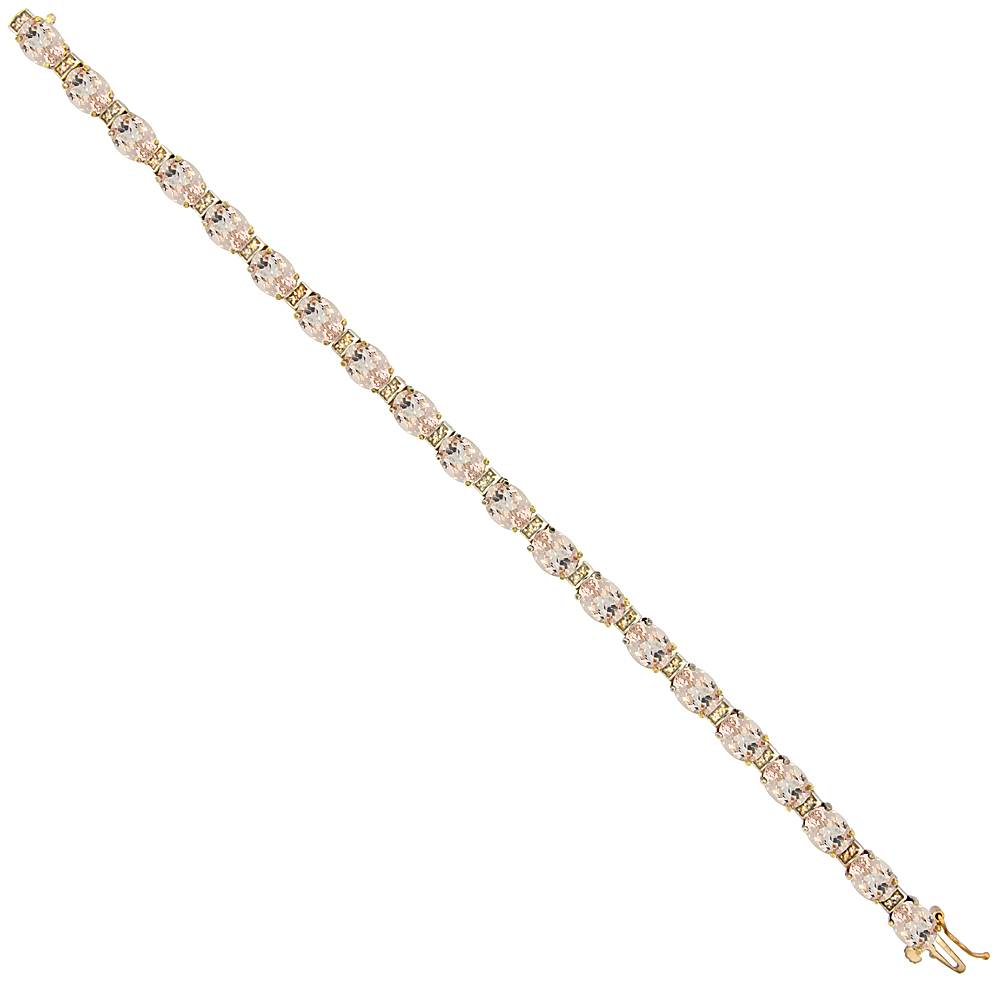 10K Yellow Gold Natural Morganite Oval Tennis Bracelet 7x5 mm stones, 7 inches