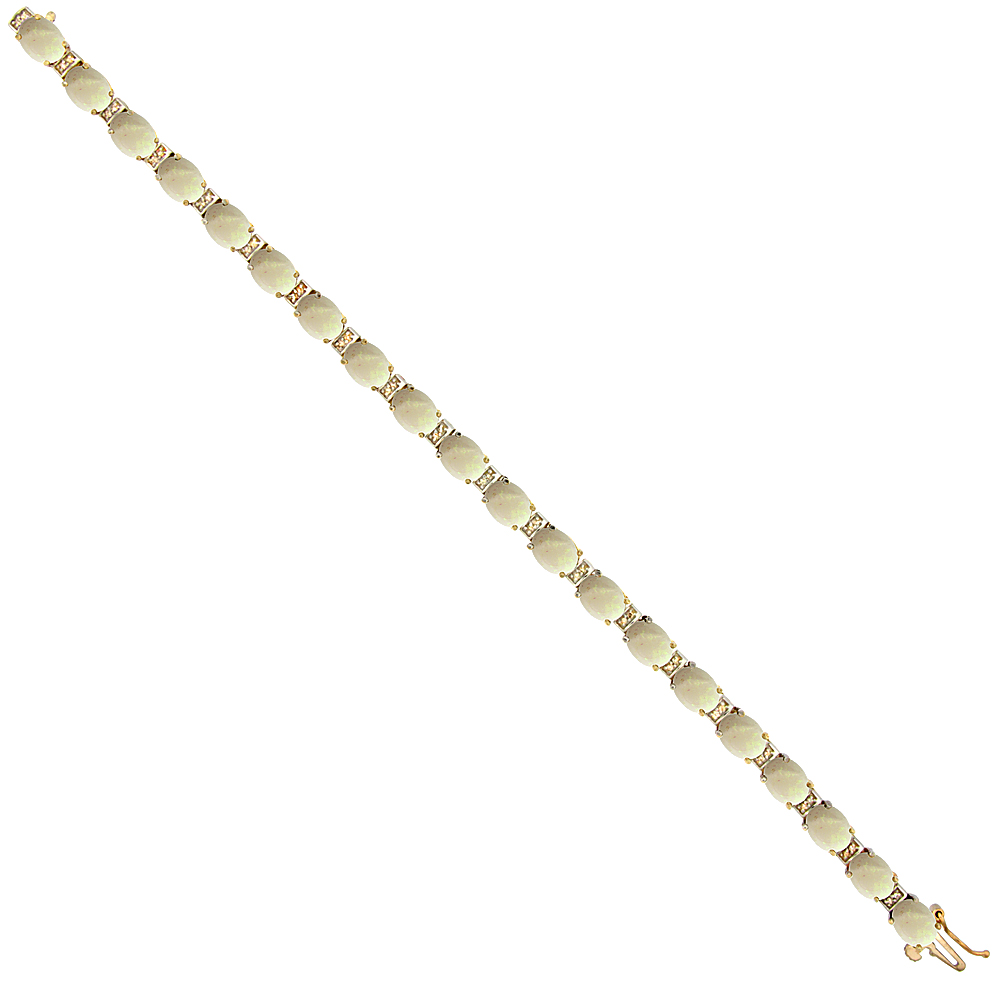 10K Yellow Gold Natural Opal Oval Tennis Bracelet 7x5 mm stones, 7 inches