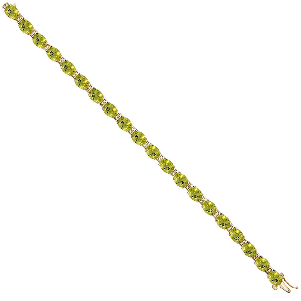 10K Yellow Gold Natural Lemon Quartz Oval Tennis Bracelet 7x5 mm stones, 7 inches