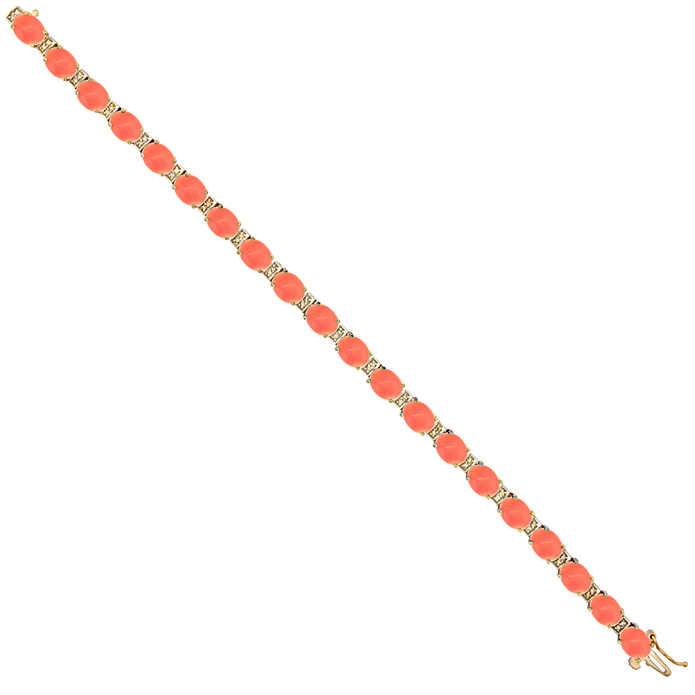 10K Yellow Gold Natural Coral Oval Tennis Bracelet 7x5 mm stones, 7 inches