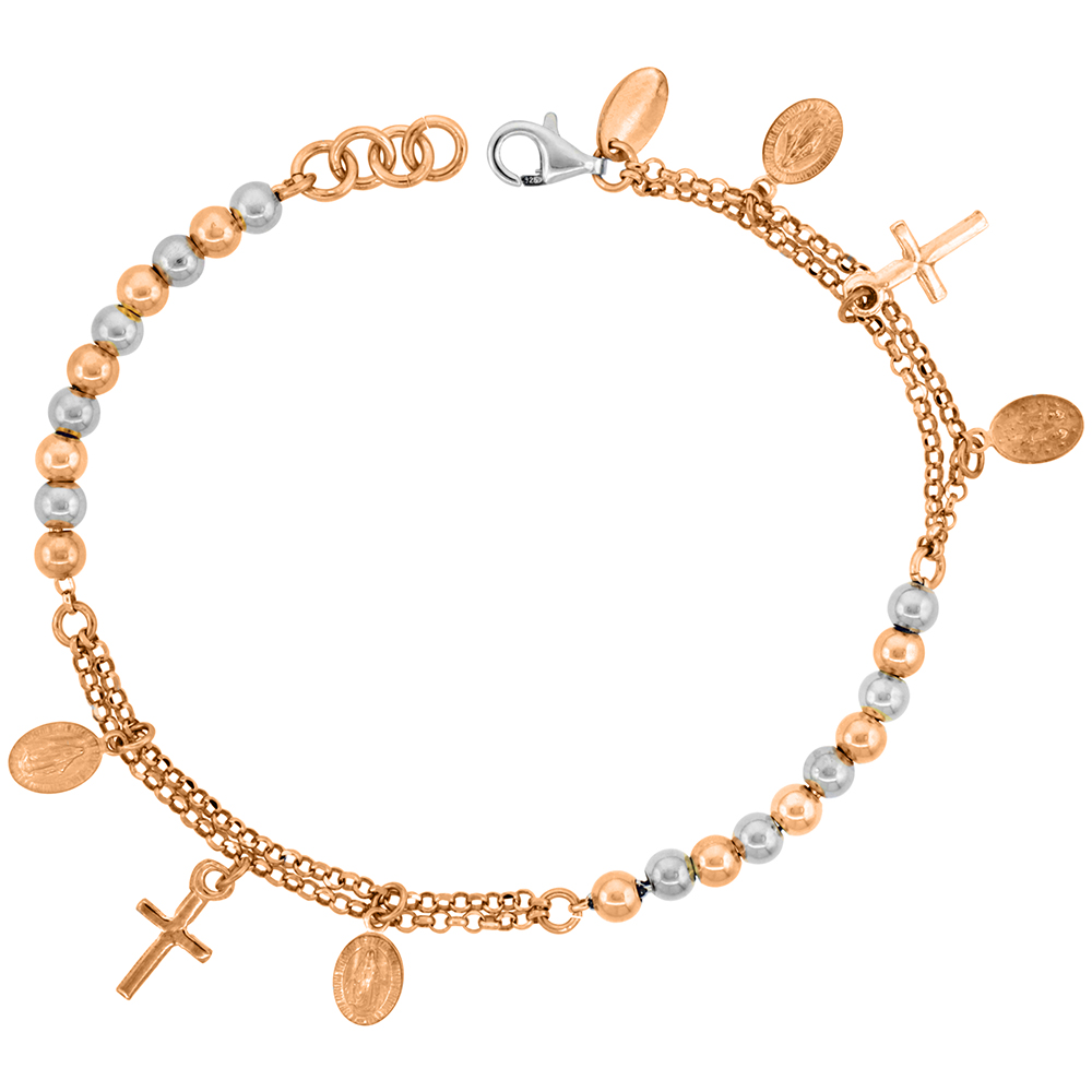 Sterling Silver Rosary Bracelet Miraculous Medal 4 mm Beads two-tone Rose finish Italy 7 inch