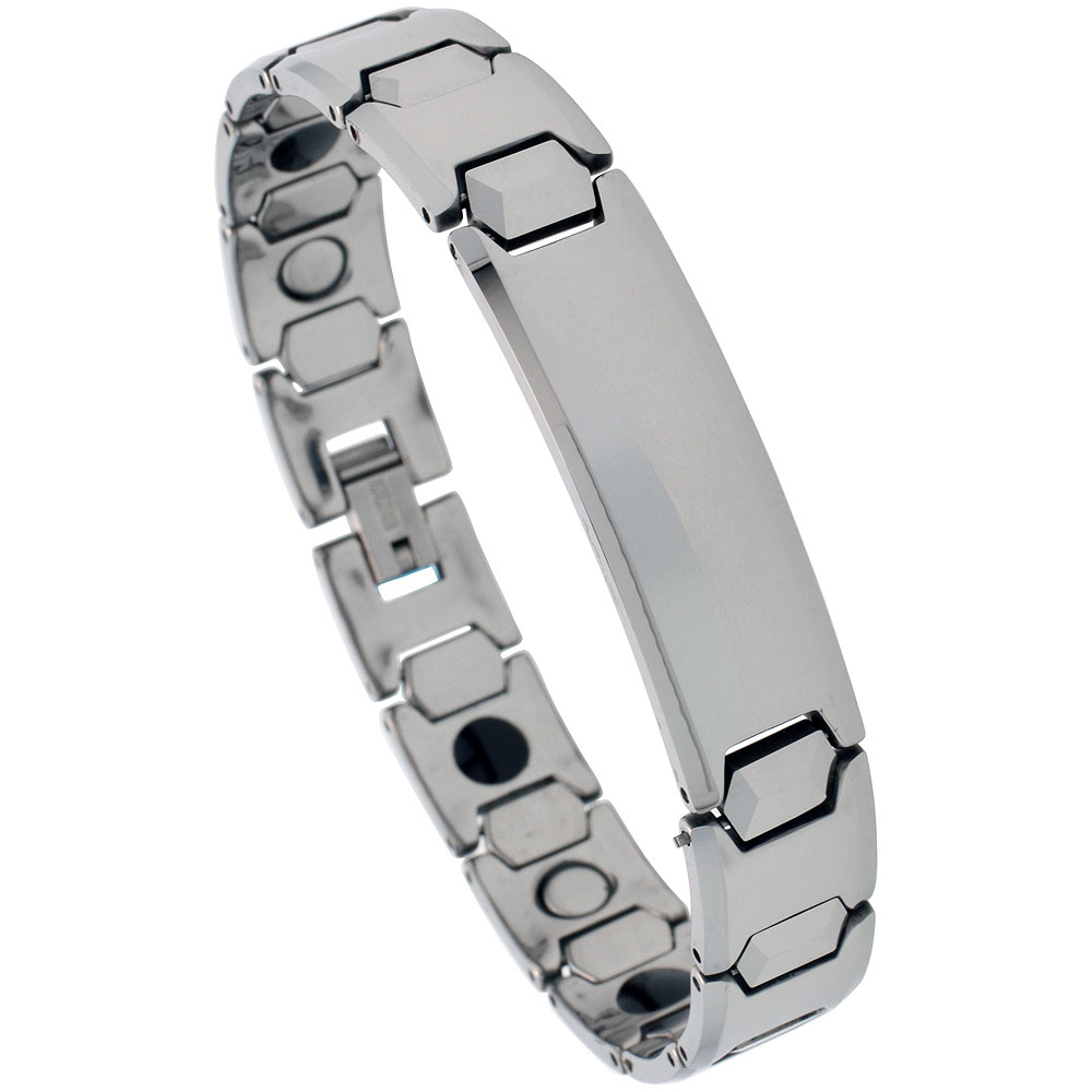 Tungsten Carbide ID Bracelet Magnetic Therapy, 1/2 inch wide,